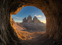 Tre Cime Di Lavaredo Peaks From A Cave Post In The First World War