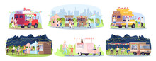 Street Food Festival Flat Vector Illustrations Set. City Park Restaurants. Summer Outdoor Rest In Town. Ready Takeaway Meal Cafe Kiosks, Walking, Eating People Isolated Cartoon Characters