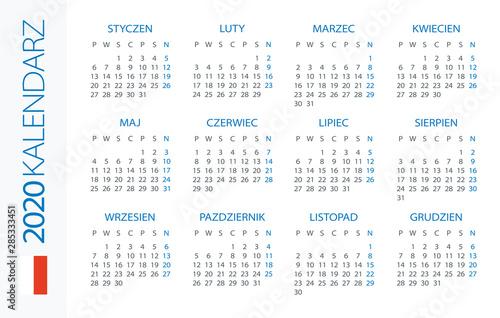 Fotografía Calendar 2020 Horizontal - illustration. Polish version