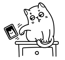 Vector Outline Black And White Drawing Of A Cute Cat Pushing A Framed Portrait Off The Table And Knocking It Over