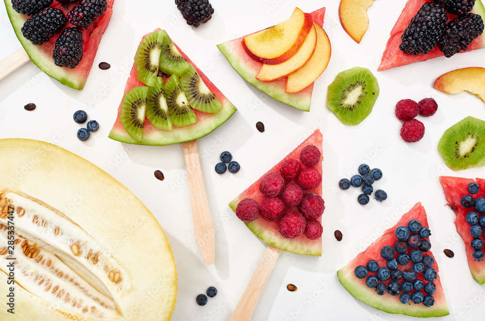 Fototapety, obrazy: pattern with delicious watermelon on sticks with seasonal berries and fruits
