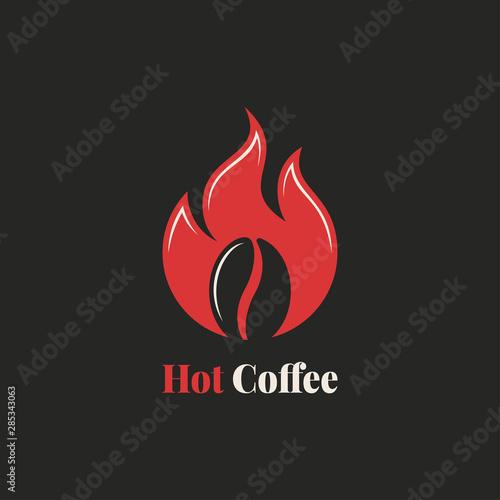 Coffee bean with fire flame. Hot coffee logo