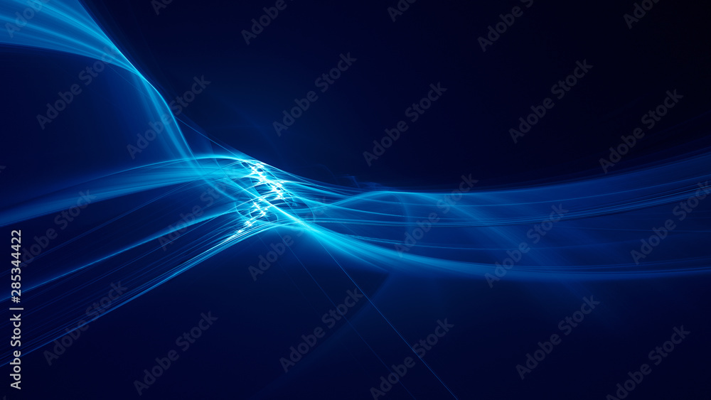 Fototapety, obrazy: Abstract blue background element on black. Fractal graphics 3d Illustration. Three-dimensional composition of glowing lines and motion blur traces. Movement and innovation concept.