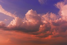 Beautiful Shot Of Large Clouds In The Beautiful Orange Sky At Sunset