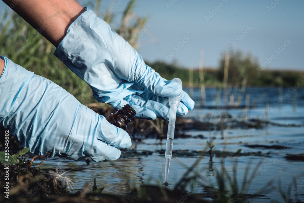 Fototapeta Water pollution concept. Woman scientist takes a water sample from polluted pond.