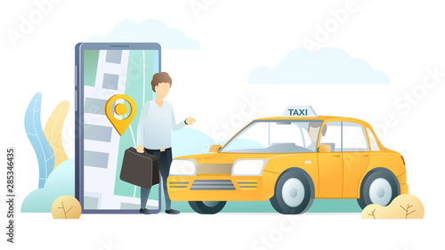 Taxi delivery application flat vector illustration Fototapet