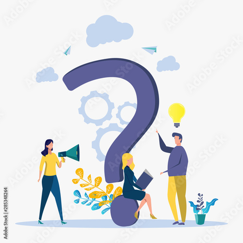 Fototapety, obrazy: Colorful question vector illustration, concept illustration of people often asked questions around question marks. Rating for work in the form of stars. metaphor
