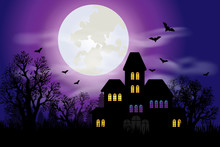 Haunted House With Full Moon A...