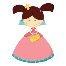 Cute Character – Princess With Handbag In Pink Dress – Isolated On White Background. Vector Illustration.