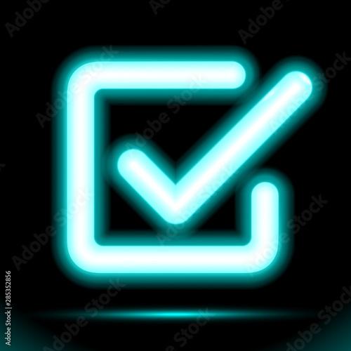 Neon lamp checkmark icon in a square, tick symbol. Modern ornamental ui element. Design for presentation or dark ad fluorescent black background. Vector luminescent illumination ad, illustration