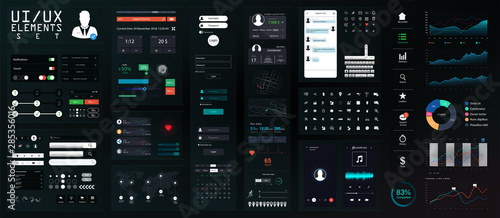 Stampa su Tela Dark UI Elements Big Set