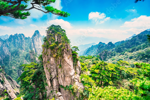 Foto op Plexiglas Zalm Landscape of Mount Huangshan (Yellow Mountains). UNESCO World Heritage Site. Located in Huangshan, Anhui, China.