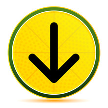 Down Arrow Icon Lemon Lime Yellow Round Button Illustration