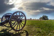 Civil War Canon On The Gettysburg Battlefield Near Sunset