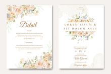 Beautiful Wedding Invitation Card With Yellow And White Roses Template