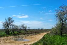 Natural Landscape With Road. Chushka Spit, Krasnodar Krai.