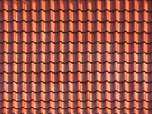 Roofing Texture. Red Corrugated Tile Element Of Roof. Seamless Pattern. Close Up Of Red Roof Texture Tile.