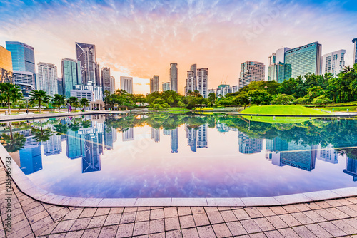 KLCC Park in the morning. Located in Kuala Lumpur, Malaysia. Wallpaper Mural