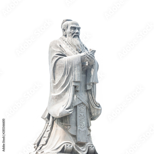 Confucius statue isolated on white background Canvas Print