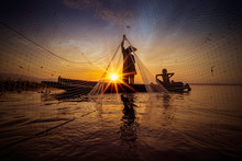 Image Is Silhouette. Fishermen...