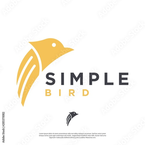 minimalist abstract vector bird logo