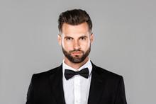 Elegant Man In Black Suit And ...