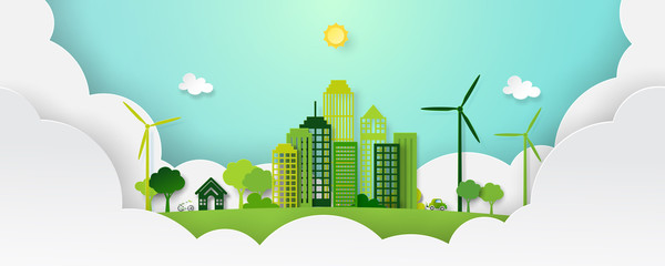 Paper art of green eco city and nature landscape in paper layers background template vector illustration.
