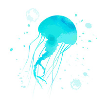Blue Jellyfish Character With ...
