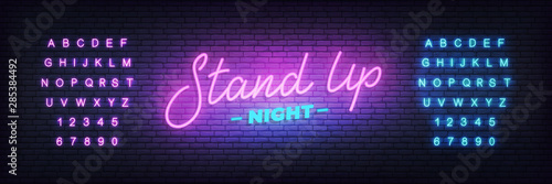 Fototapeta Stand up neon. Lettering neon glowing sign for Stand up comedy show obraz