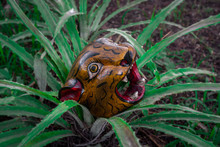 Jaguar Head Carved In Wood Mexican Mayan Crafts On Maguey Plant.