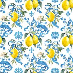 Watercolor lemon pattern