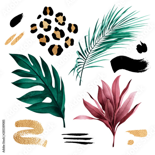 Set of tropical plants and gold and black brushstrokes. Botanical watercolor green exotic leaves. Coconut palm, monstera, banana tree.
