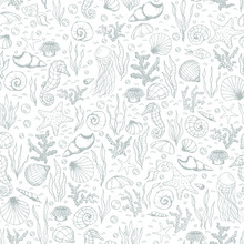 Hand Drawn Vector Sea Life Seamless Pattern With Seahorses, Fish, Starfish, Corals, Seashells And Jellyfish Gray Outline On The White Background.