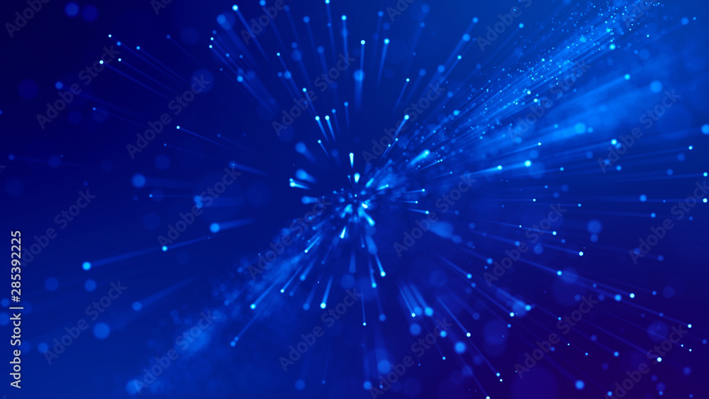 Fototapety, obrazy: 3d rendering of abstract blue background with glowing particles like micro world science fiction with depth of field and bokeh. Blue light rays like laser show for bright festive presentation