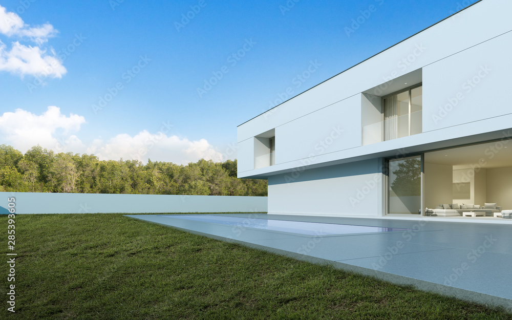 Fototapety, obrazy: Perspective of white modern luxury house with swimming pool and lawn yard in day time, Idea of minimal architecture design. 3D rendering