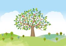 大木 木 自然 エコロジー 風景 景色 水彩 手書き 背景素材 丘 自然