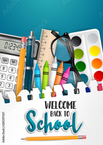 Welcome back to school flyer or brochure with torn out sheet of papar as a background and realistic 3d study items - ring notebook, markers, crayons, ruler, pencil with eraser, calculator.