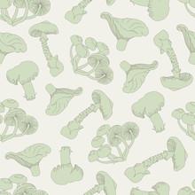 Seamless Mushroom Pattern. Dra...