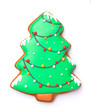 canvas print picture - Tasty Christmas cookie in shape of fir tree on white background