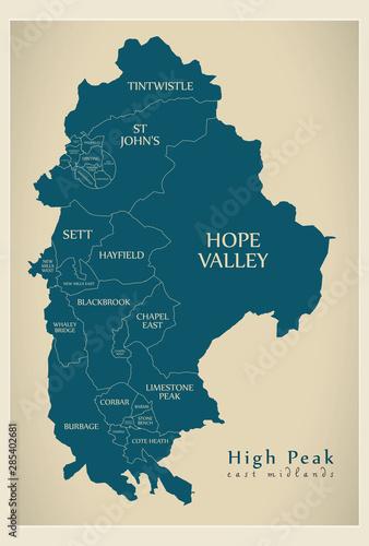 Fotografie, Obraz  Wards map of High Peak district in East Midlands England UK with labels