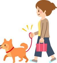 犬に散歩させる若い女...