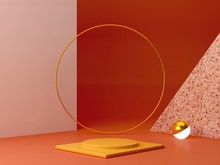 Minimal Podium In Ocher Colors. Scene With Geometrical Forms. Gold Ring, Terrazzo Wall, Sphere With Light And Boxes. Orange And Yellow, Autumn Scene. Minimal Background To Show Products. 3d Render