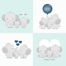 Cute Elephant Family With A Li...