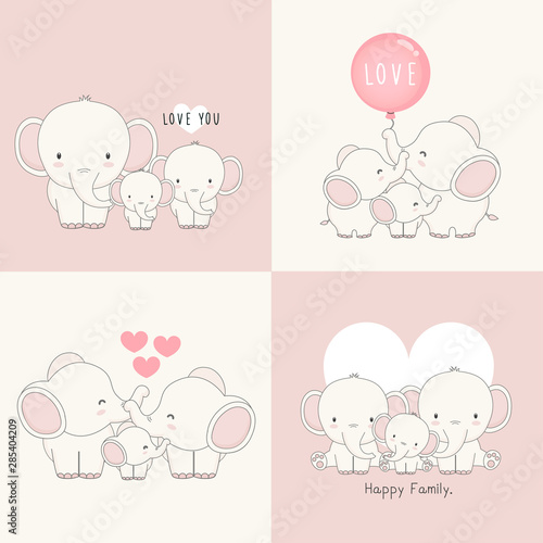 Canvas Print Cute elephant family with a little elephant in the middle.