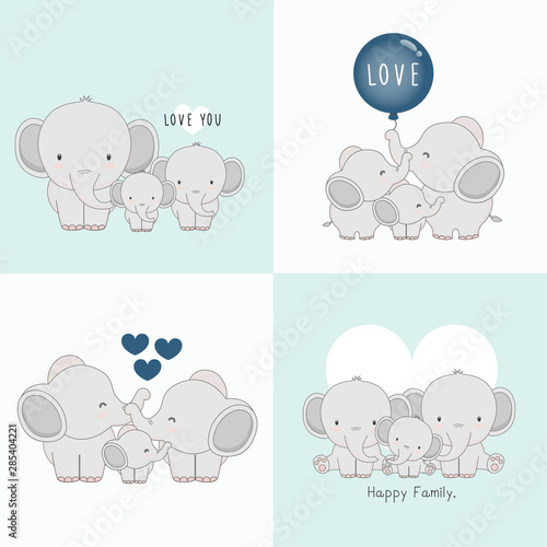 Fototapeta Cute elephant family with a little elephant in the middle.