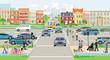 Straßenverkehr mitFußgänger und Autos aufStädtischerstraße