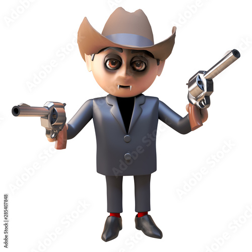 Recess Fitting Wild West Funny 3d cartoon dracula vampire monster wearing a cowboy stetson and aiming his guns, 3d illustration