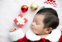 Asian Baby Newborn On Santa Cl...