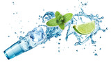 Ice cubes, mint leaves, water splash, lime and glass on a white background. Mojito