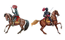 Mounted Knights Illustration. Mounted Cuirassier From Thirty Years War. Historical Illustration.